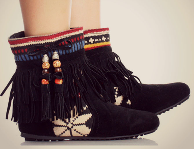 Milly Kate - Tribal Fringe Ankle Boots Indian Booties