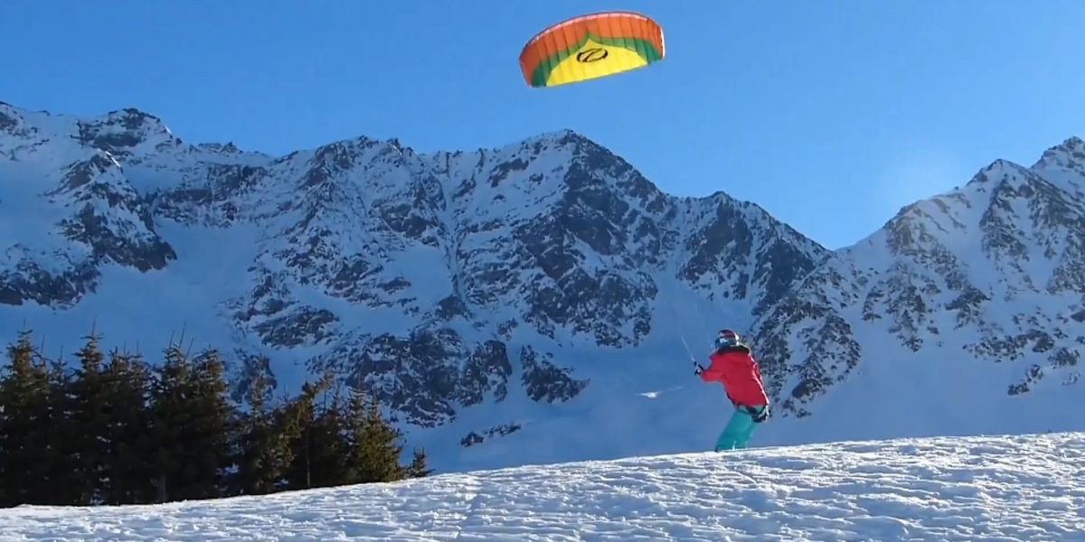 A Girl's First Snowkiting Lines